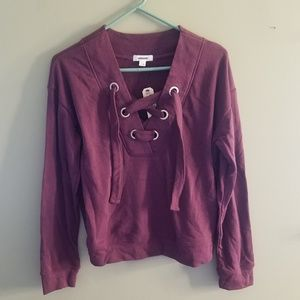 NWT Garage Chunky Lace Up Sweater